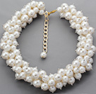 Assorted Round White Acrylic Pearl Choker Necklace