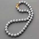 Classic Design 10-11mm Round Dark Gray Freshwater Pearl Beaded Necklace with Gold Plated Clasp