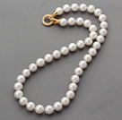 Classic Design 10-11mm Round White Freshwater Pearl Beaded Knotted Necklace with Gold Plated Clasp with Rhinestone