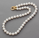 Wonderful Round A Grade 9-10mm White Freshwater Pearl Beaded Knotted Necklace with Gold Plated Clasp