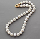 Classic Design Round A Grade 11-12mm White Freshwater Pearl Beaded Knotted Necklace with Gold Plated Clasp