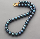 A Grade Round 11-12mm Blue Light Black Freshwater Pearl Beaded Knotted Necklace with Gold Plated Clasp