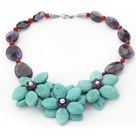 Elegant Style Assorted Amethyst and Carnelian and Turquoise Flower Necklace