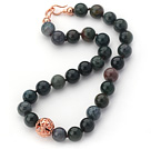 12mm Round Green and Black Color Indian Agate Beaded Knotted Necklace with Golden Rose Color Metal Ball