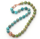 12mm Round Blue and Green Color Imperial Jasper Beaded Knotted Necklace with Golden Rose Color Metal Ball
