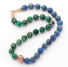 12mm Round Green and Blue Color Imperial Jasper Beaded Knotted Necklace with Golden Rose Color Metal Ball