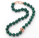 12mm Round Dark Green Agate Beaded Knotted Necklace with Golden Rose Color Metal Ball