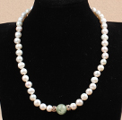 12mm Round Faceted Rose Quartz and Amesthyst and Prehnite Beaded Knotted Necklace with Golden Rose Color Metal Ball under $ 40