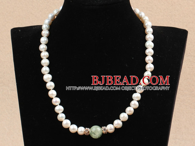 Best Mother Gift Graceful Natural White Pearl Prehnite Bead Party Necklace With Heart Clasp