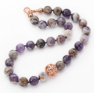14mm Round Snow Amethyst Beaded Knotted Necklace with Golden Rose Color Metal Ball under $ 40