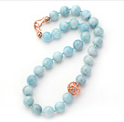14mm Round Natural Aquamarine Beaded Knotted Necklace with Golden Rose Color Metal Ball under $ 40