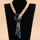 Fantastic Natural Pink Pearl Blue Agate Y Shape Tassel  Party Necklace