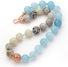 16mm Round Sponge Kyanite and Fire Agate Beaded Knotted Necklace with Golden Rose Color Metal Ball