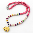 Assorted Dyed Pink and Multi Color Howlite Necklace with Elephant Pendant ( Random Pendant Color)