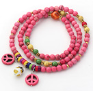 Pink Series Deyed Pink Howlite necklace with Pink Color Peace Accessories