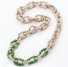New Design 6mm Round White and Green Howlite Link Beaded Necklace
