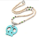 White Series White Howlite Necklace with Green Turquoise Skull Pendant under $ 40
