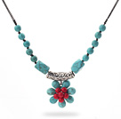 New Design Green Turquoise and Alaqueca Flower Necklace with Black Thread under $ 40