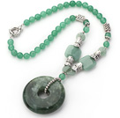Green Series Round Aventurine Necklace with Serpentine Jade Donut Pendant under $ 40