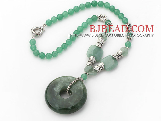 Green Series Round Aventurine Necklace with Serpentine Jade Donut Pendant