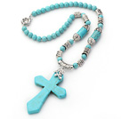 New Design Turquoise Necklace with Cross Shape Turquoise Pendant and Tibet Silver Accessories