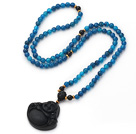 Medium Long Style Blue Agate Necklace with Black Onyx Laughing Buddha Pendant