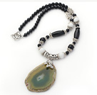 Black Agate and White Porcelain Stone Necklace with Irregular Shape Agate Slice Pendant
