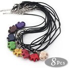 8 Pieces Multi Color Elephant Shape Pendant Necklaces with Black Leather (Total 8 Pieces)