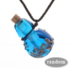 Simple Style Colored Glaze Perfume Bottle Pendant with Brown Thread ( The Bottle Color Is Random)