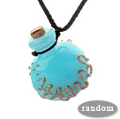 Fashion Style Colored Glaze Perfume Bottle Pendant with Brown Thread ( The Bottle Color Is Random)