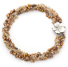 Multi Strands Golden Color Freshwater Pearl and Picture Jasper and Rutilated Quartz Twisted Necklace