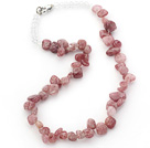 Pink Series Irregular Shape Top Drilled Strawberry Quartz and Clear Crystal Necklace