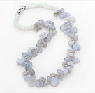 Violet Series Irregular Shape Top Drilled Violet Agate and Clear Crystal Necklace