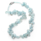 Light Blue Series Irregular Shape Top Drilled Aquamarine and Clear Crystal Necklace