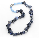 Dark Blue Series Irregular Shape Top Drilled Sodalite Stone and Blue Crystal Necklace