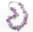 Light Purple Series Irregular Shape Top Drilled Transparent Amethyst and Clear Crystal Necklace