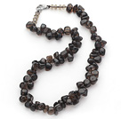 Dark Brown Series Irregular Shape Top Drilled Natural Smoky Quartz and Brown Crystal Necklace