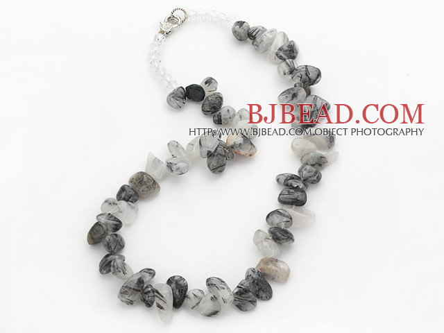 Black Gray Series Irregular Shape Top Drilled Black Rutilated Quartz and Clear Crystal Necklace