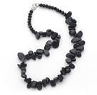 Black and Blue Series Irregular Shape Top Drilled Blue Sandstone and Black Crystal Necklace