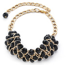 Fashion Design Black Crystal Statement Necklace with Yellow Color Metal Chain under $ 40
