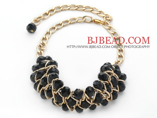 Fashion Design Black Crystal Statement Necklace with Yellow Color Metal Chain
