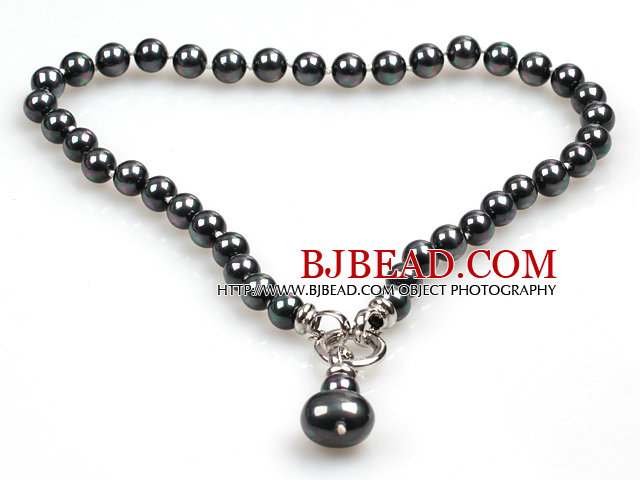 Classic Design 10Mm Black With Colorful Seashell Pendant Necklace(Pendant Can Be Removed)