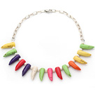 Assorted White Freshwater Pearl and Multi Color Teeth Shape Turquoise Necklace with Silver Color Metal Chain