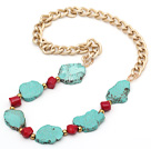 Assorted Irregular Shape Green Turquoise and Red Coral Necklace with Bold Yellow Color Metal Chain
