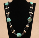 Unique Design Irregular Shape Turquoise Natural White Pearl Black Agate Necklace