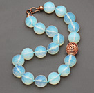20mm Faceted Opal Crystal Beaded Knotted Necklace with Golden Rose Color Metal Ball under $ 40