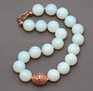 20mm Moonstone Beaded Knotted Necklace with Golden Rose Color Metal Ball
