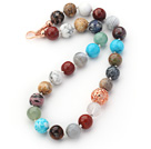 Assorted Round Shape 12mm Multi Color Multi Stone Beaded Knotted Necklace