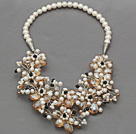 White Freshwater Pearl and Champagne Color Crystal Flower Crocheted Necklace