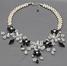 White Freshwater Pearl and Clear Crystal and Black Crystal Flower Crocheted Necklace